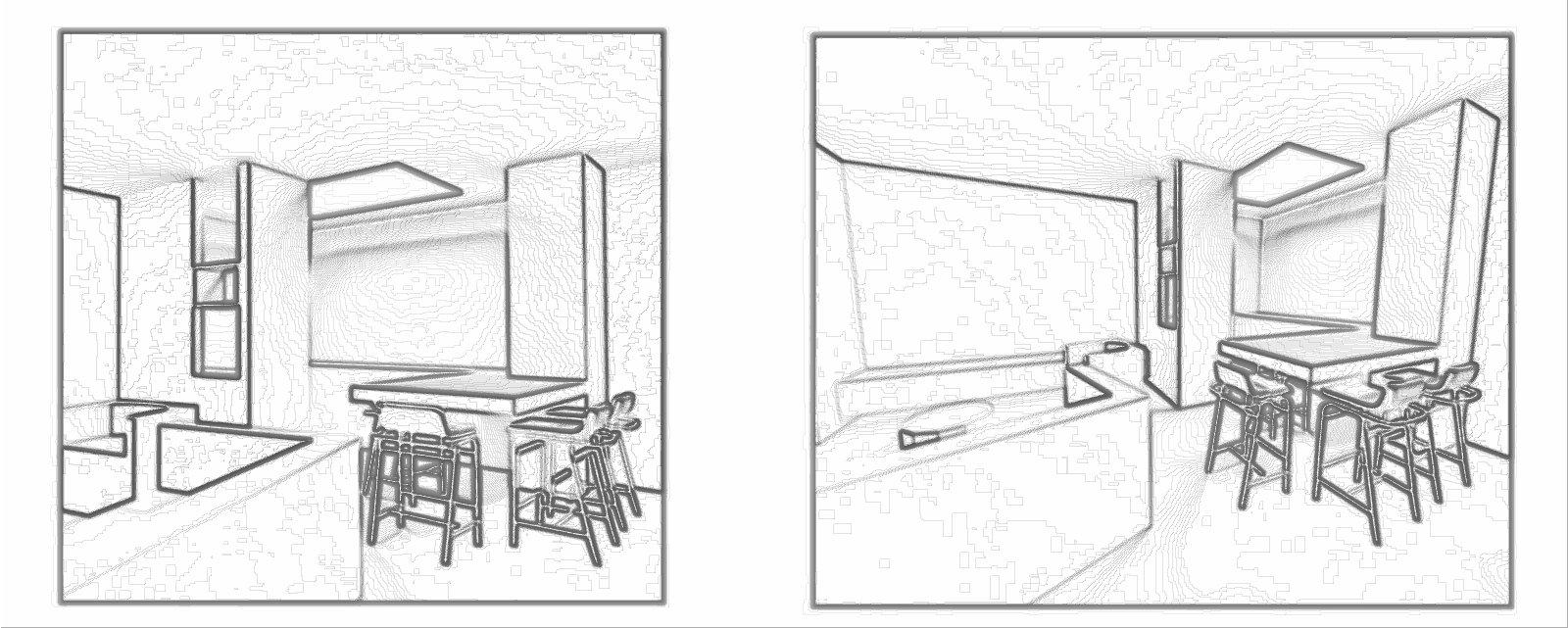 Ristrutturazione soggiorno cucina open space 3D